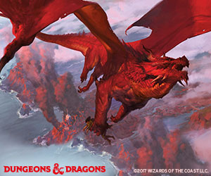 Dungeons & Dragons art: Red dragon flying over mountains. Copyright Wizards of the Coast